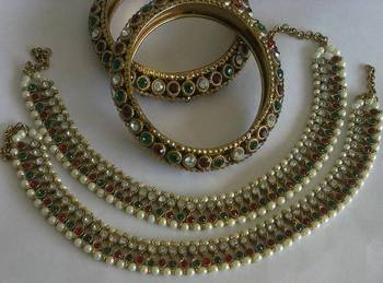 Designer Multi colour Anklets with Traditional Multi colour Bangles