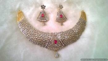 Chik Patti Designer AD Necklace Set