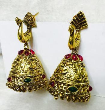 TRADITIONAL PEACOCK DESIGN Gold jhumkas