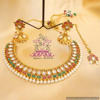 Multicolour Polki & Zircon Necklace