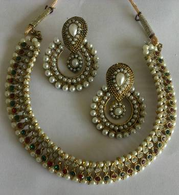 Designer  Pearl Earings with Multi colour  Traditional Necklace