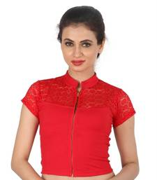 Red hosiery plain stitched blouse