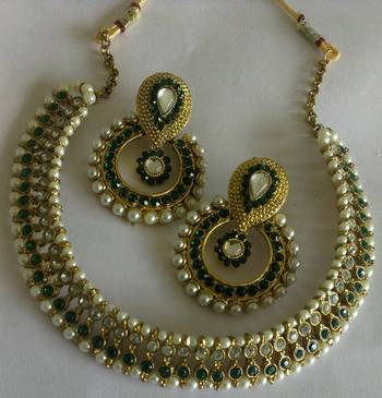 Designer Fancy Green colour Earings with Traditional Green colour Necklace
