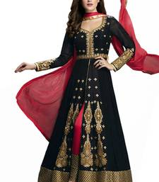 Buy Black georgette embroidered unstitched salwar with dupatta dress-material online