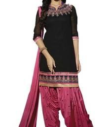 Buy Black georgette embroidered unstitched salwar with dupatta punjabi-suit online