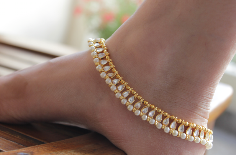 Buy Kundan And Pearl Moti Payal Anklet Online