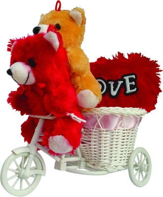 Cute Pink Cycle With Sitting Couple Teddy With Love Heart Valentine Gift Set