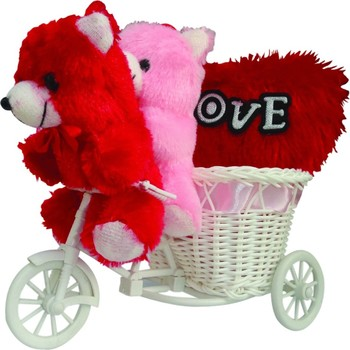 Cute Multi Teddybear Sitting On Pink Cycle Valentine Gift Set