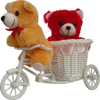 Cute Couple Teddy Sitting In Pink Cycle Valentine Gift Set
