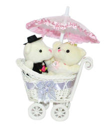 Buy Cute pink miny couple teddy sitting in cycle trolly with umbrella gifts-for-girlfriend online