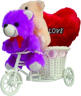 Cute Couple Teddy Ridding On Basket Cycle Valentine Gift Set