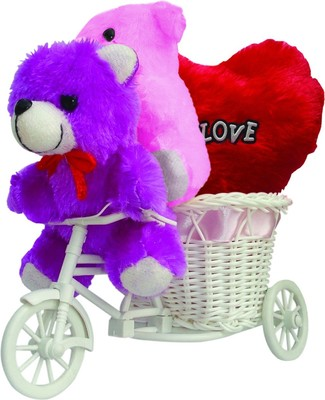 Love Tricyle Basket With Couple Teddy Love Heart Valentine Gift Set