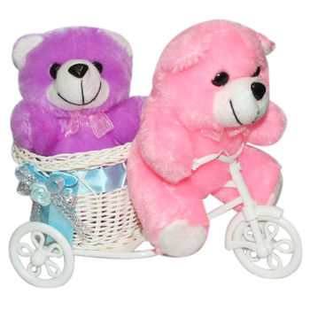 Cute Bubbly Teddybear Ridding On Tricycle Cycle Valentine Gift Set