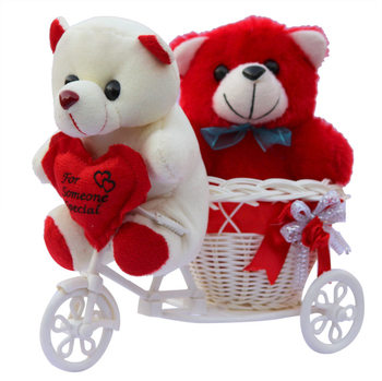 Cute Red Love Couple Teddy Baer With Basket Cycle Valentine Gift Set
