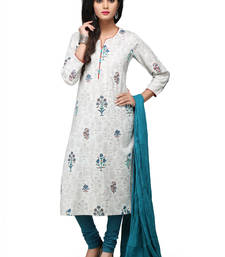 Buy White printed cotton readymade salwar with dupatta readymade-suit online