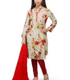 Buy Fawn printed cotton readymade salwar with dupatta readymade-suit online