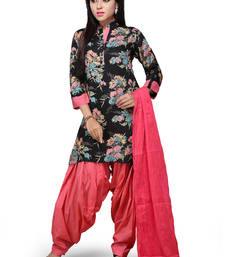 Buy Black printed rayon readymade salwar with dupatta readymade-suit online
