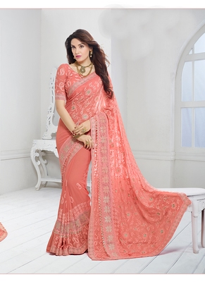 Pink Chiffon Saree With Blouse By Voovilla