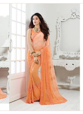 chiffon saree by voovilla (Orange)