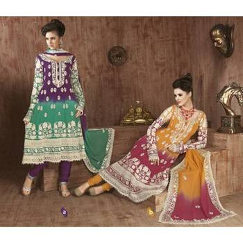 Green, Purple Georgette Suit with Dupatta SUBL3012A