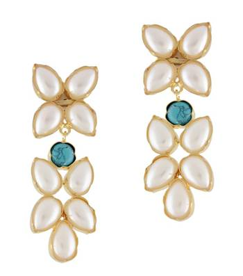 White Floral Line Earrings