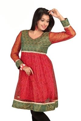Triveni Traditional Jaipuri Printed Red Color Kurti 1080