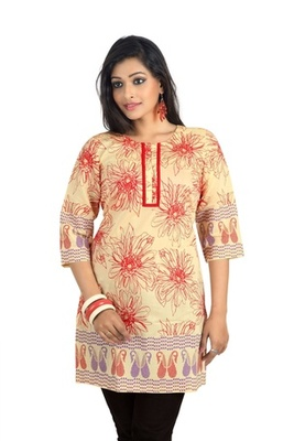 Triveni Beautiful Floral Printed Trendy Cotton Kurti 1018