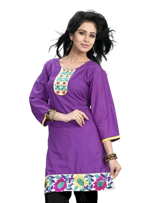 Triveni Admirable Embroidered Bordered Cotton Kurti 255B