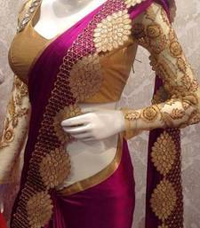 Buy Purple embroidered art silk saree with blouse party-wear-saree online