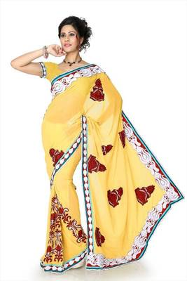 Maize yellow faux georgette saree with unstitched blouse (dpl1298)