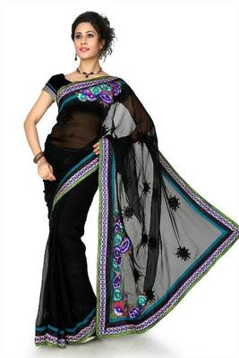 Black chiffon saree with unstitched blouse (dpl1300)