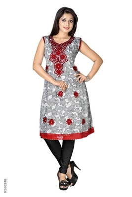 Triveni Sleeveless Knee length cotton printed Kurti 3807b