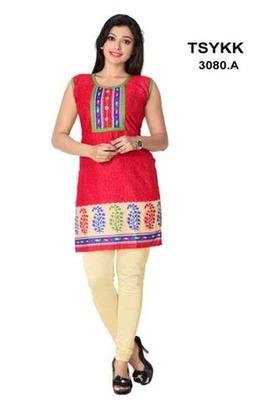 Triveni Vibrant colored sleeveless cotton Kurti 3080a