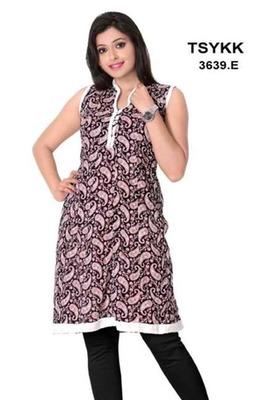 Triveni Fancy paisley motif printed cotton Kurti 3639e