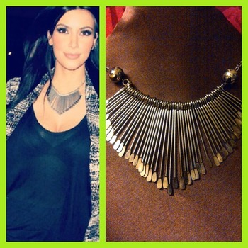 Kim Kardishan Bold Spikes Silver Necklace