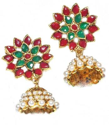 Multicolour Bollywood Ethnic Wedding Festival Jhumki Earrings