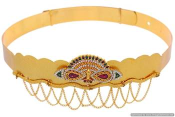ANTIQUE GOLDEN STONE STUDDED TRADITIONAL PEACOCK THEME WAIST BELT/VADIYALAM (AD RED GREEN)  - PCWB5013
