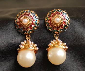 GORGEOUS ANTIQUE PEARL BLUE MEENKARI EARRINGS