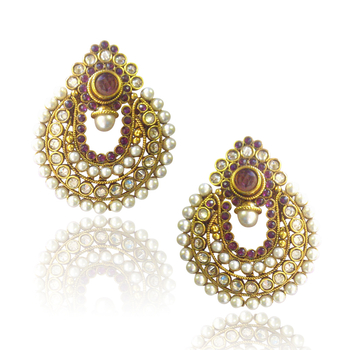 Elegant Wine Coloured Pearl Polki Earrings by ADIVA ABCHI0BCD005