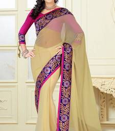 Buy Beige contrast border graceful faux Georgette saree with blouse georgette-saree online