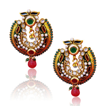 Red green antique glowing earring v142