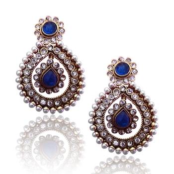 Deep blue tear drop dangler pearl polki earring c162b