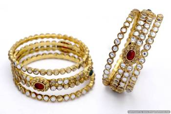 ANTIQUE GOLDEN OVAL SHAPED KUNDAN STONE STUDDED 6 PIECE BANGLE SET (KUNDAN RED GREEN)  - PCB1022
