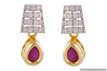 AD STONE STUDDED ELEGANT SMALL STUD STYLE HANGINGS/EARRINGS (AD RED ) - PCFE3274
