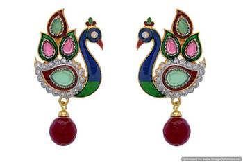 AD STONE STUDDED MEENA PEACOCK THEME EARRINGS/HANGINGS (RED ) - PCFE3275
