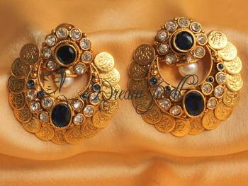 GORGEOUS ROYAL BLUE COIN BALI EARRINGS