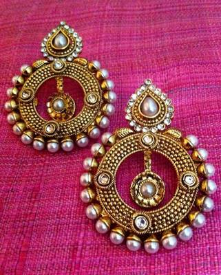 Cute dangler with an amazing pearl polki work Indian ethnic vintage earring C304W