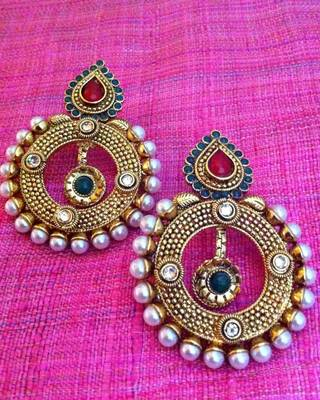 Cute dangler with an amazing red green pearl polki work Indian ethnic vintage earring c304rg