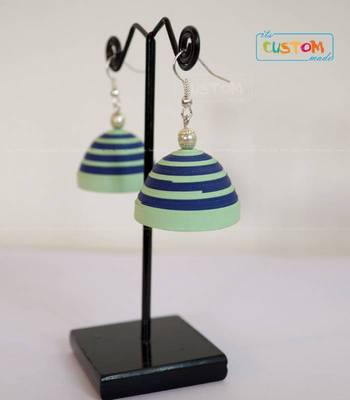 Blue green paper jhumka