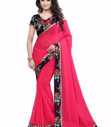 Buy Red printed chiffon saree With Blouse chiffon-saree online